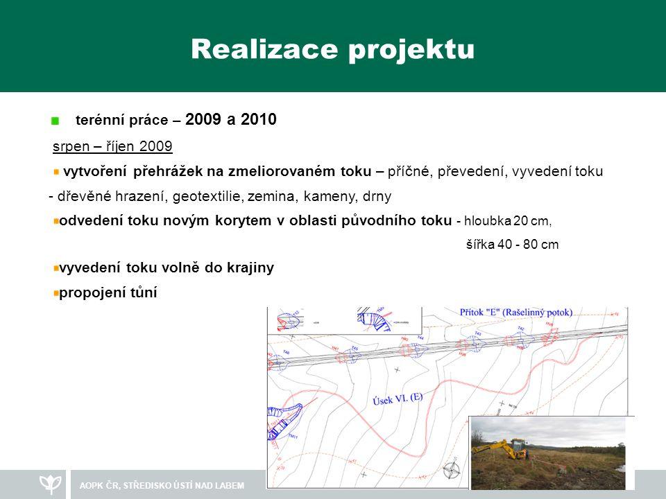 AOPK ČR, STŘEDISKO ÚSTÍ NAD LABEM Realizace projektu - přehrážky