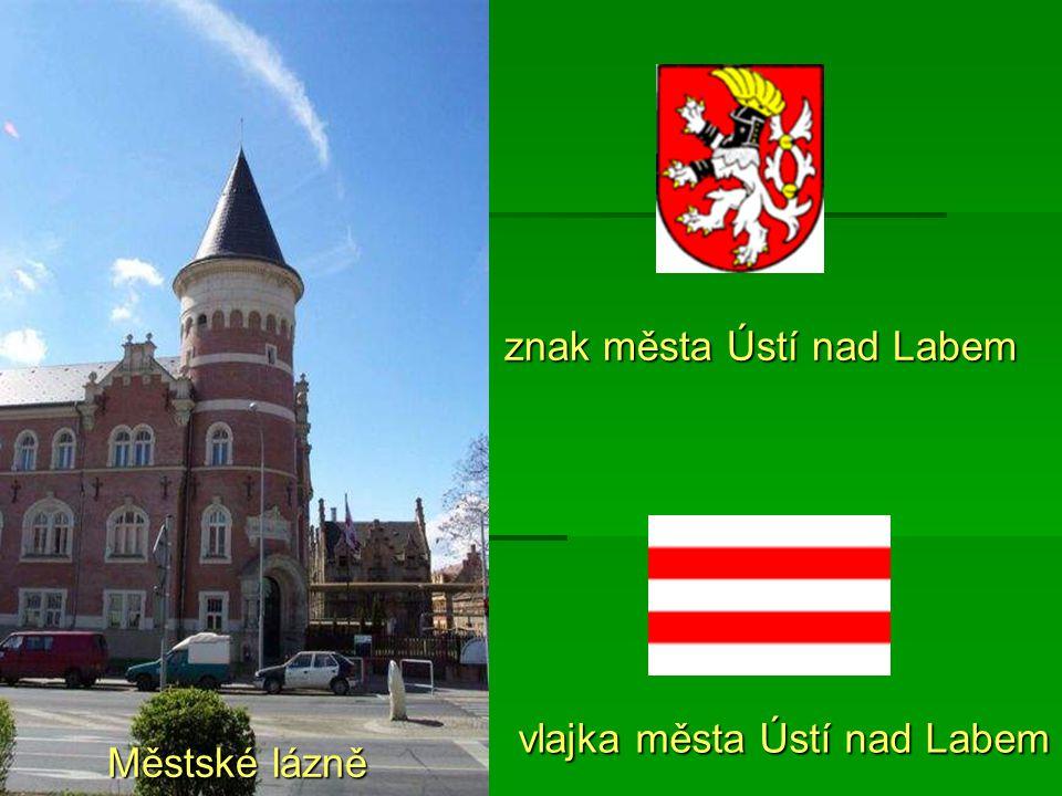 Městské lázně znak města Ústí nad Labem vlajka města Ústí nad Labem