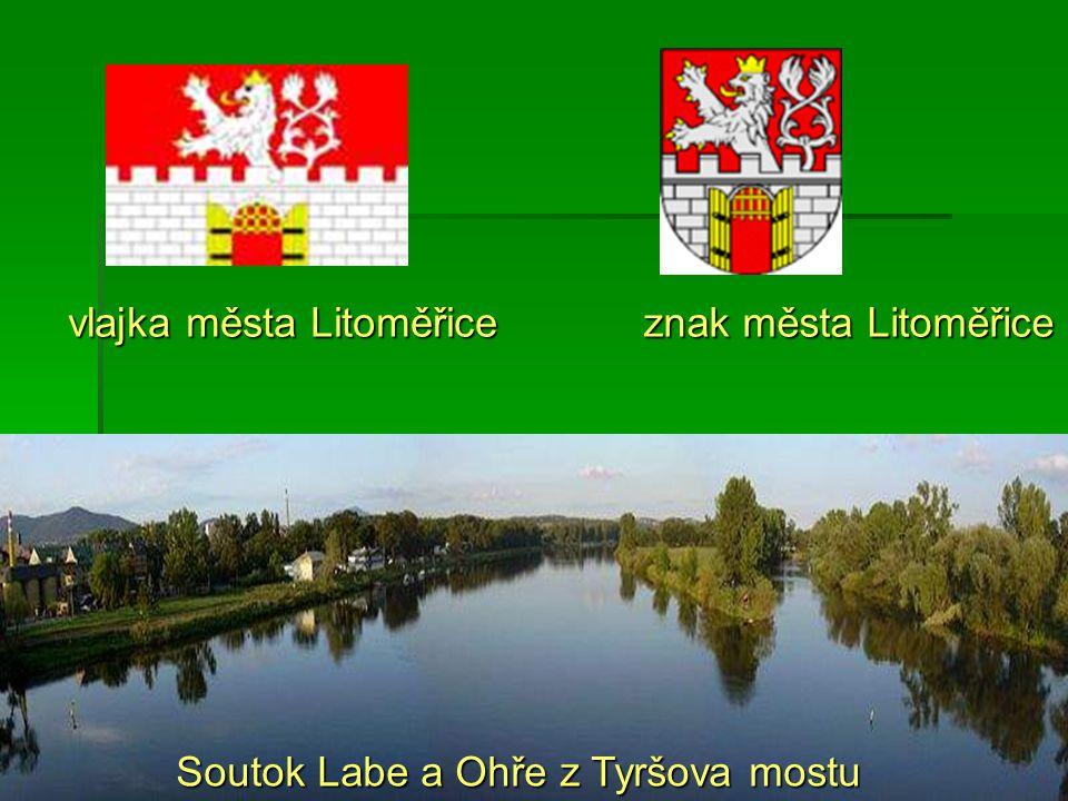 znak města Litoměřice vlajka města Litoměřice Soutok Labe a Ohře z Tyršova mostu