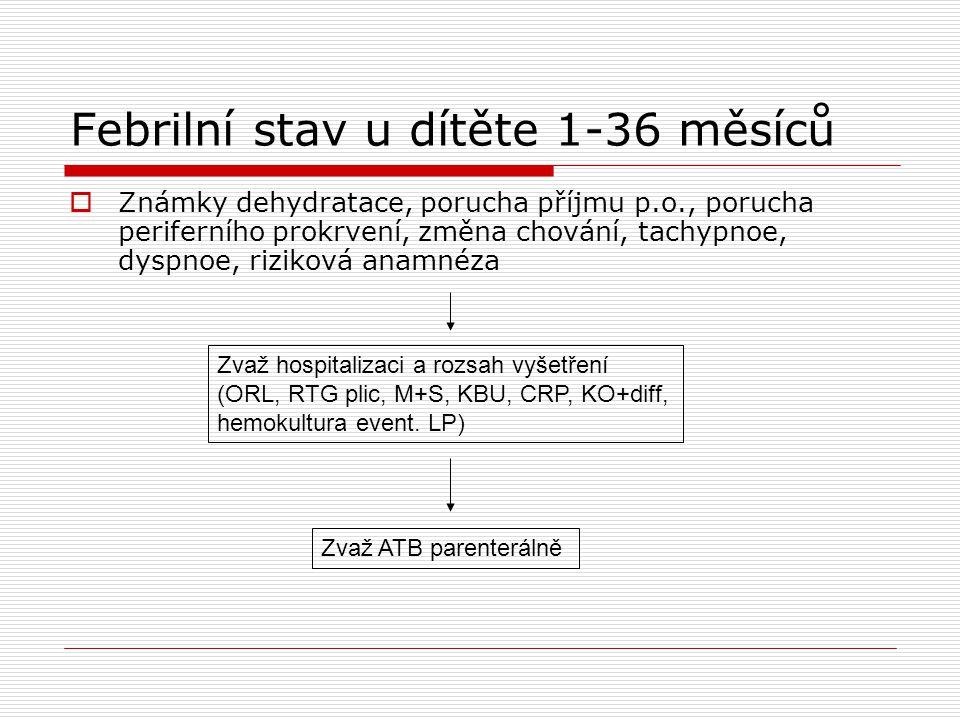 Febrilní stav u dítěte 1-36 měsíců  Hyperpyrexie, toxický stav, porucha vědomí, cyanóza, kožní krvácení, křeče, meningeální dráždění, kardiopulmonální selhávání Urgentní hospitalizace na JIRP Stabilizace stavu (oběh, ventilace, CNS, koagulace) Komplexní vyšetření laboratorní Neodkladně parenterální ATB