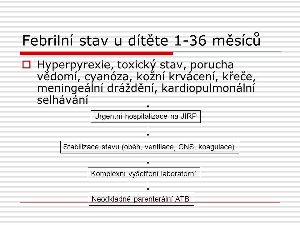 Kawasakiho syndrom  Diagnostická kritéria  febrilie trvající déle než 5 dní nereagující zpravidla na ATB terapii  onemocnění se nedá vysvětlit známou příčinou  + alespoň 4 z 5 příznaků:  polymorfní exantém  serozní konjuktivitis  cervikální lymfadenitis  akrální kožní změny (erytém dlaní a plosek nebo edém dlaní a plosek) s následným periunguálním olupováním kůže  difuzní zarudnutí dutiny ústní, zarudlé rty s fissurami nebo malinový jazyk
