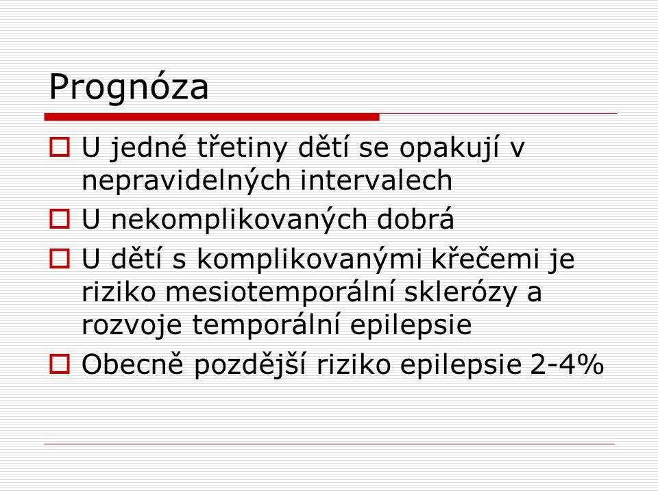 Prevence  Po prvním záchvatu  Preventivně během horečnatých stavů diazepam v celkové denní dávce 0,5-0,7 mg/kg/den (do 3 dávek) p.o, supp.