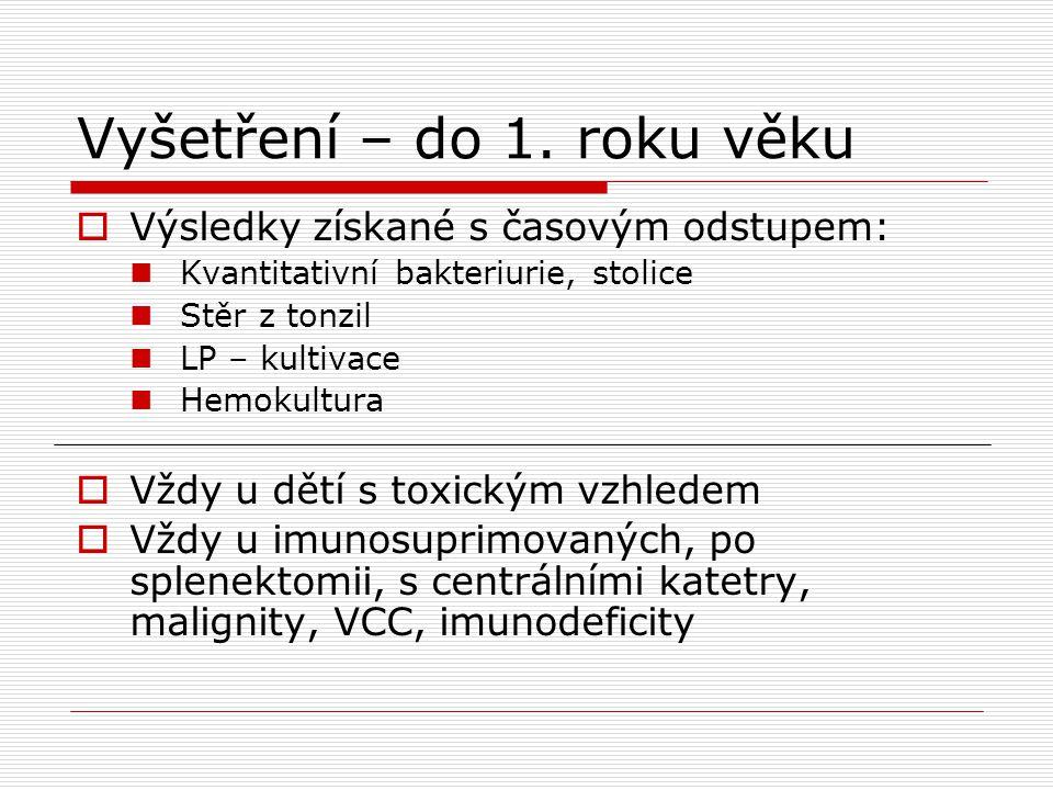 Vyšetření – do 1. roku věku  Výsledky získané s časovým odstupem:  Kvantitativní bakteriurie, stolice  Stěr z tonzil  LP – kultivace  Hemokultura