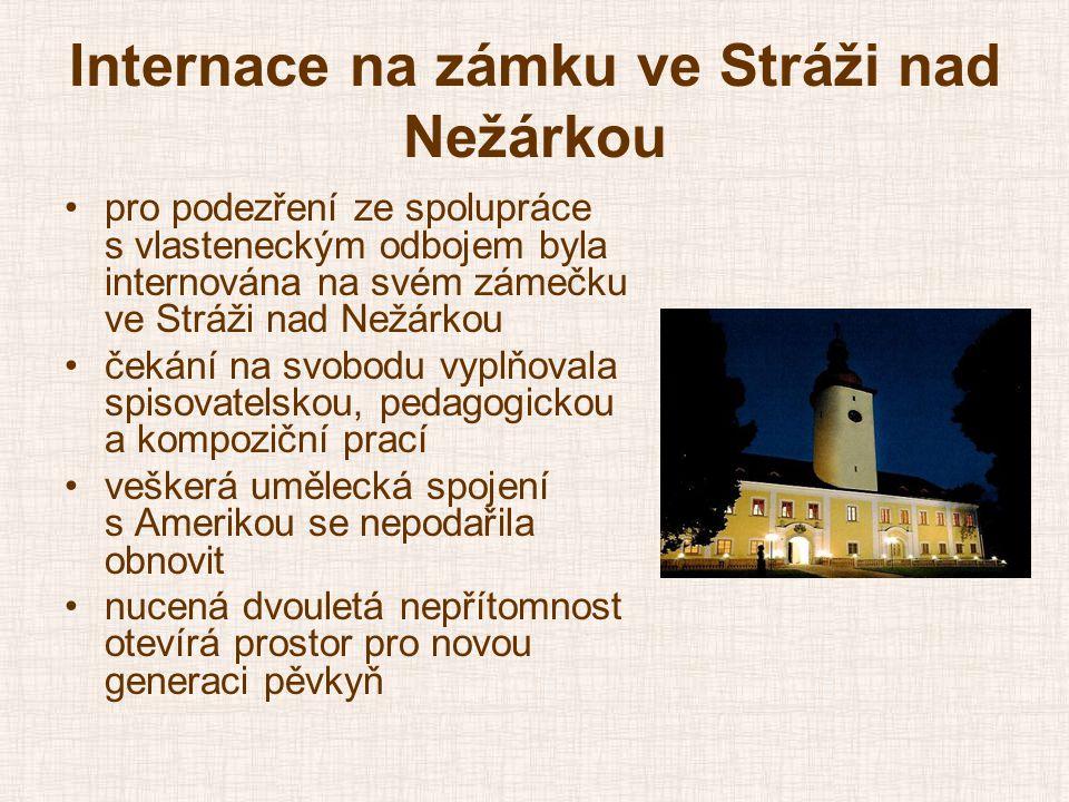 Internace na zámku ve Stráži nad Nežárkou •pro podezření ze spolupráce s vlasteneckým odbojem byla internována na svém zámečku ve Stráži nad Nežárkou