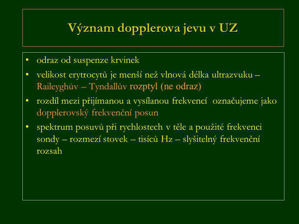 Význam dopplerova jevu v UZ •odraz od suspenze krvinek •velikost erytrocytů je menší než vlnová délka ultrazvuku – Raileyghův – Tyndallův rozptyl (ne odraz) •rozdíl mezi přijímanou a vysílanou frekvencí označujeme jako dopplerovský frekvenční posun •spektrum posuvů při rychlostech v těle a použité frekvenci sondy – rozmezí stovek – tisíců Hz – slyšitelný frekvenční rozsah