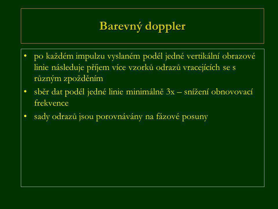 Barevný doppler •po každém impulzu vyslaném podél jedné vertikální obrazové linie následuje příjem více vzorků odrazů vracejících se s různým zpoždění