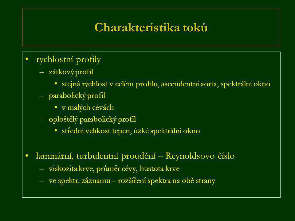 Charakteristika toků •rychlostní profily –zátkový profil •stejná rychlost v celém profilu, ascendentní aorta, spektrální okno –parabolický profil •v m