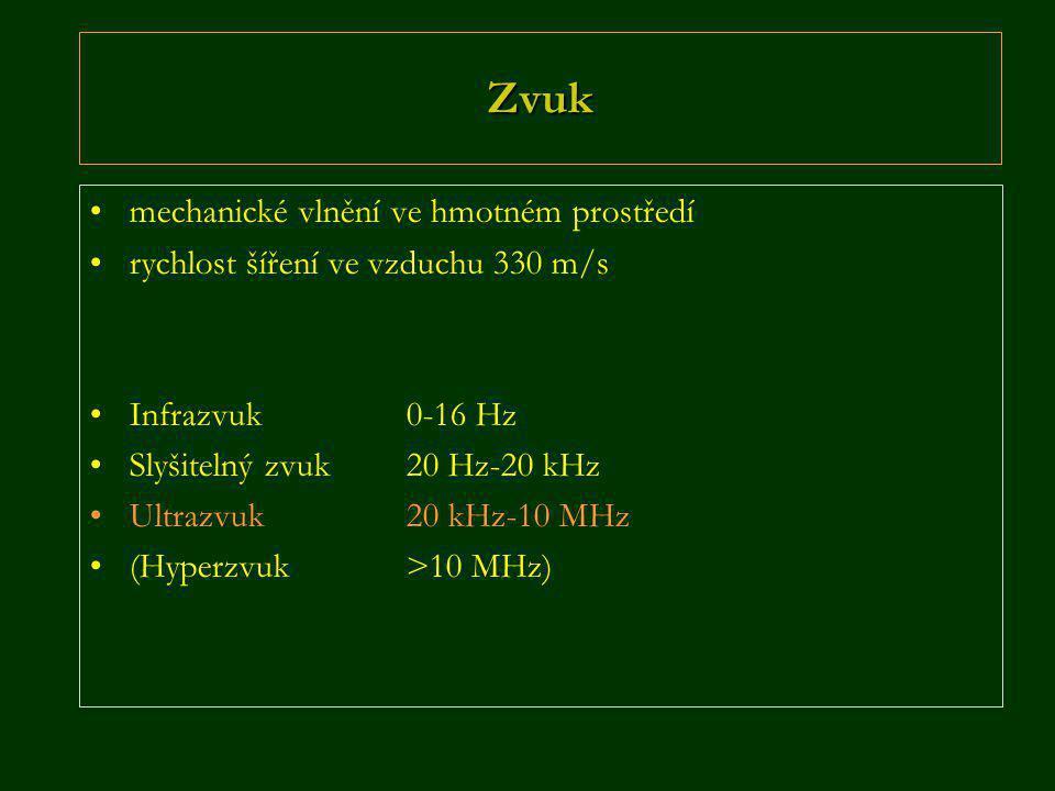 Zvuk •mechanické vlnění ve hmotném prostředí •rychlost šíření ve vzduchu 330 m/s •Infrazvuk 0-16 Hz •Slyšitelný zvuk20 Hz-20 kHz •Ultrazvuk 20 kHz-10 MHz •(Hyperzvuk>10 MHz)