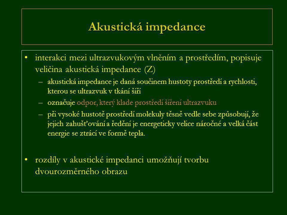 Akustická impedance •interakci mezi ultrazvukovým vlněním a prostředím, popisuje veličina akustická impedance (Z) –akustická impedance je daná součine