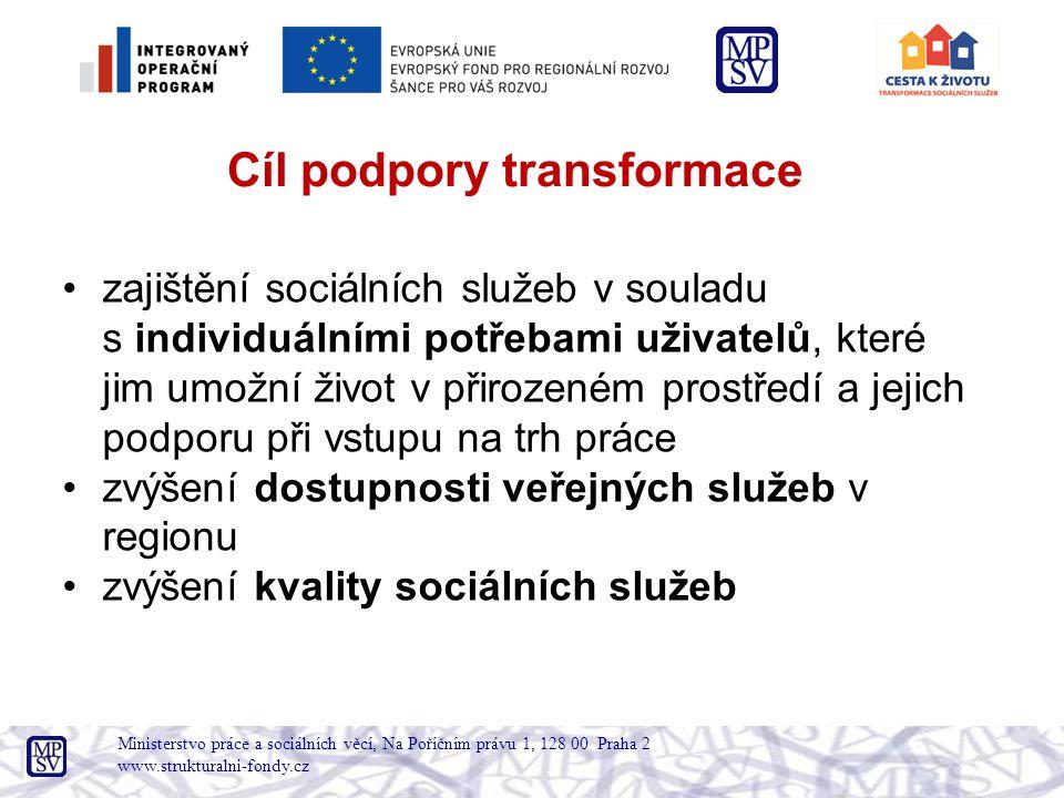 Ministerstvo práce a sociálních věcí, Na Poříčním právu 1, 128 00 Praha 2 www.strukturalni-fondy.cz Cíle jsou naplňovány tvorbou alternativních sociálních služeb s menší kapacitou v běžné zástavbě.