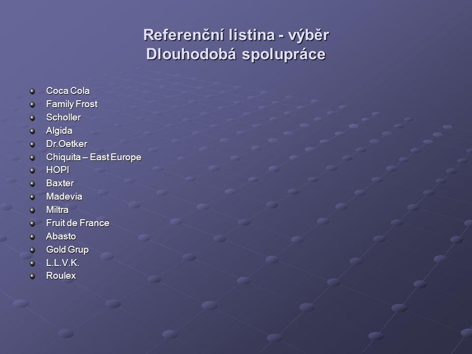 Referenční listina - výběr Dlouhodobá spolupráce Coca Cola Family Frost SchollerAlgidaDr.Oetker Chiquita – East Europe HOPIBaxterMadeviaMiltra Fruit de France Abasto Gold Grup L.L.V.K.Roulex