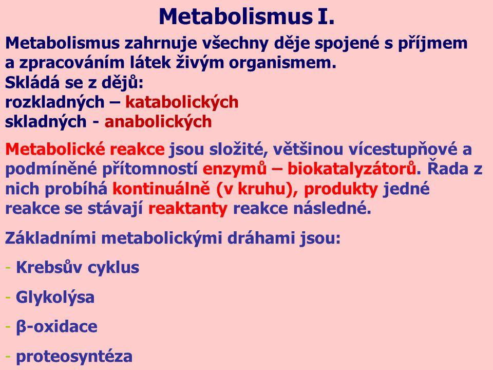 Metabolismus I. Metabolismus zahrnuje všechny děje spojené s příjmem a zpracováním látek živým organismem. Skládá se z dějů: rozkladných – katabolický