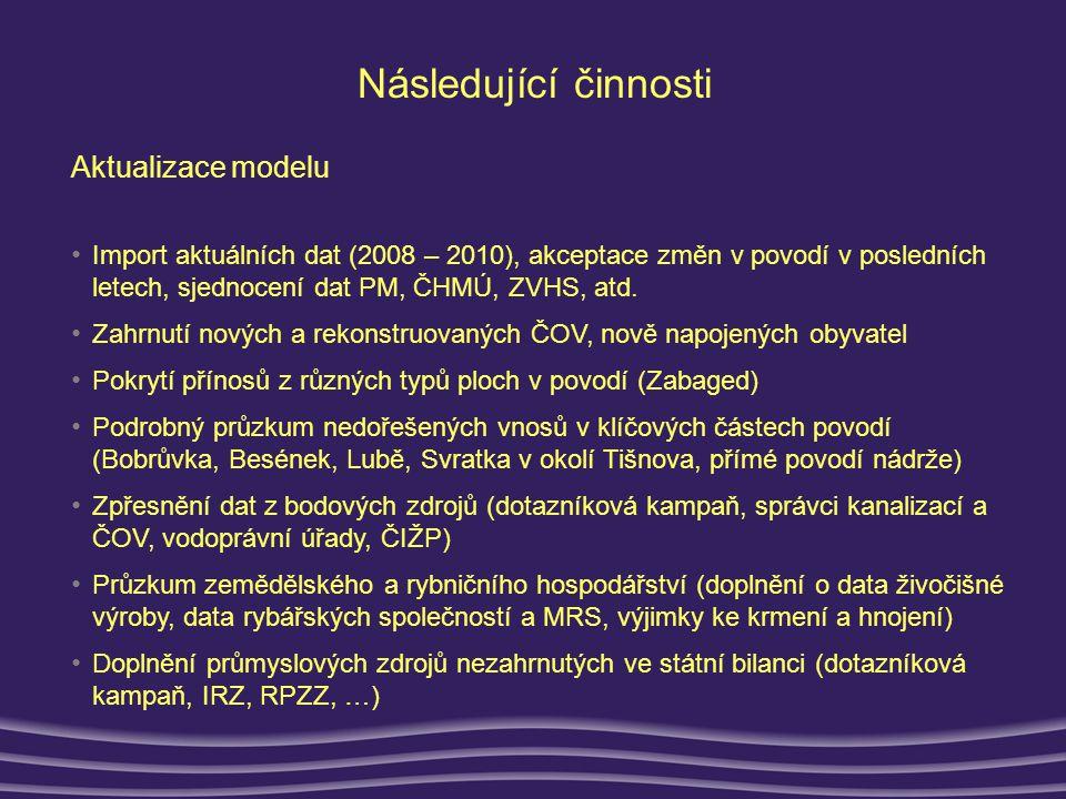 Následující činnosti Aktualizace modelu • Import aktuálních dat (2008 – 2010), akceptace změn v povodí v posledních letech, sjednocení dat PM, ČHMÚ, ZVHS, atd.