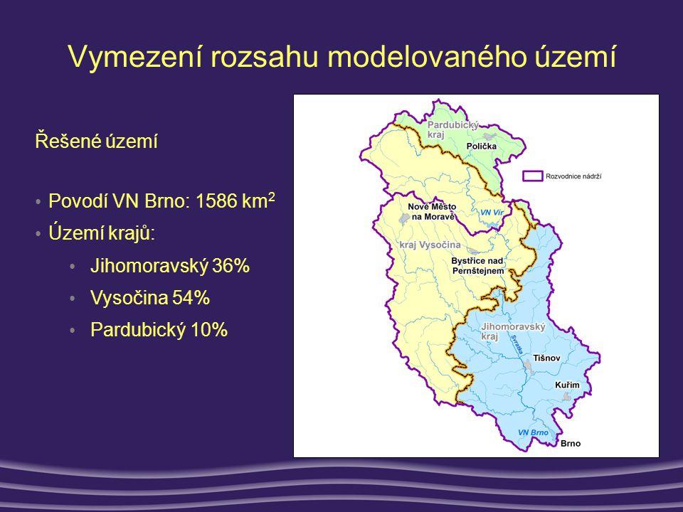 Výstupy modelu •Zdroje fosforu v povodí • Bodové, plošné (difúzní) znečištění, 100.000 obyvatel v řešeném území •90.000 vypouští do povodí Brněnské nádrže •Téměř 52 000 lidí žije v obcích nad 1 000 obyvatel, všechny tyto obce jsou vybaveny ČOV různé kvality, vybavenosti a stáří •V těchto obcích však více než 13.000 není na tyto ČOV napojeno •Odstraňováním fosforu jsou vybaveny pouze největší z nich (9 z 29) Čištěné vody Produkce P celk [t/rok] Počet obcí Počet obyvatel Obce s napojením na ČOV17,33865 047 Obyvatelé v těchto obcích připojení na ČOV10,63851 940 Obyvatelé v těchto obcích nepřípojení na ČOV6,73213 107 Obyvatelé napojeni na ČOV s odstraňováním P5,61541 176 Obyvatelé napojeni na ČOV bez odstraňováním P5,02310 764