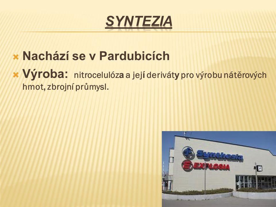 Nachází se v Pardubicích  Výroba: nitrocelulóz a a jej í derivát y pro výrobu nátěrových hmot, zbrojní průmysl.