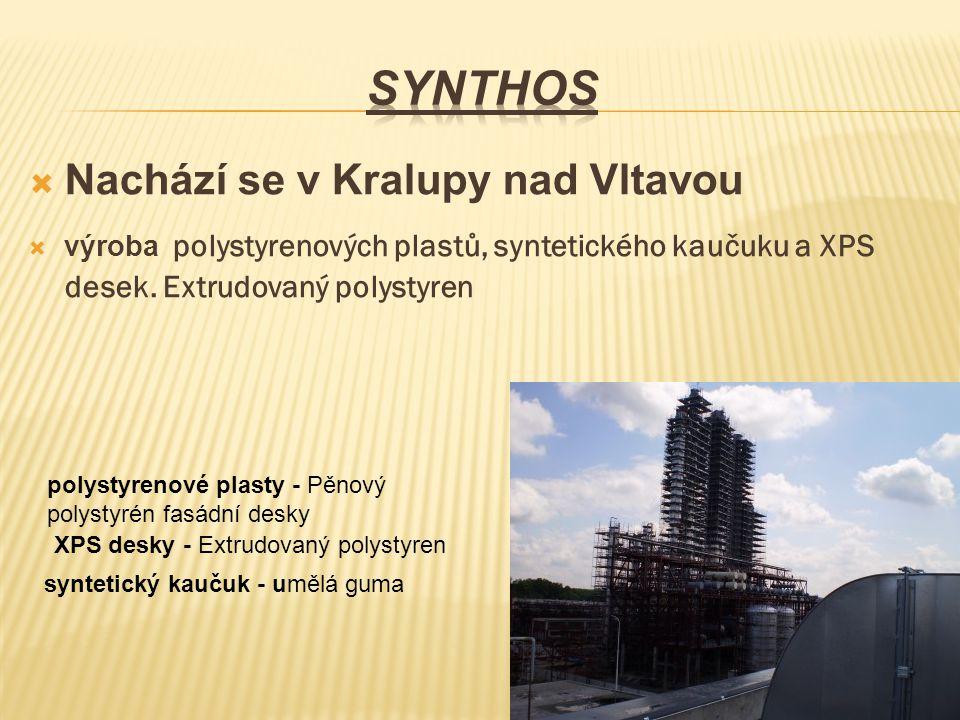  Nachází se v Kralupy nad Vltavou  výroba polystyrenových plastů, syntetického kaučuku a XPS desek. Extrudovaný polystyren polystyrenové plasty - Pě