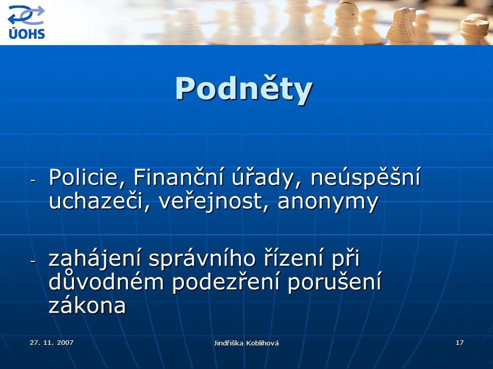 27. 11. 2007 Jindřiška Koblihová 17 Podněty - Policie, Finanční úřady, neúspěšní uchazeči, veřejnost, anonymy - zahájení správního řízení při důvodném
