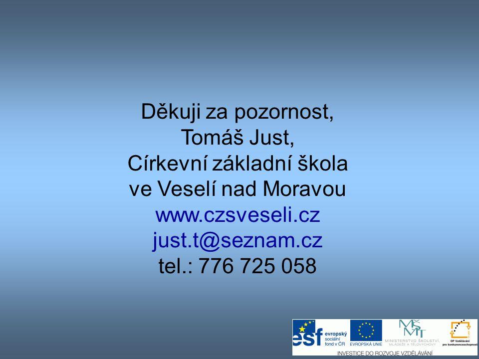 Děkuji za pozornost, Tomáš Just, Církevní základní škola ve Veselí nad Moravou www.czsveseli.cz just.t@seznam.cz tel.: 776 725 058