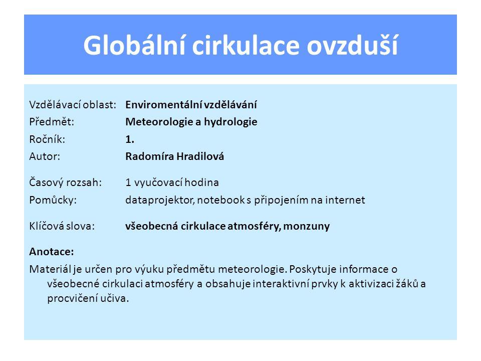 Globální cirkulace ovzduší Vzdělávací oblast:Enviromentální vzdělávání Předmět:Meteorologie a hydrologie Ročník:1. Autor:Radomíra Hradilová Časový roz