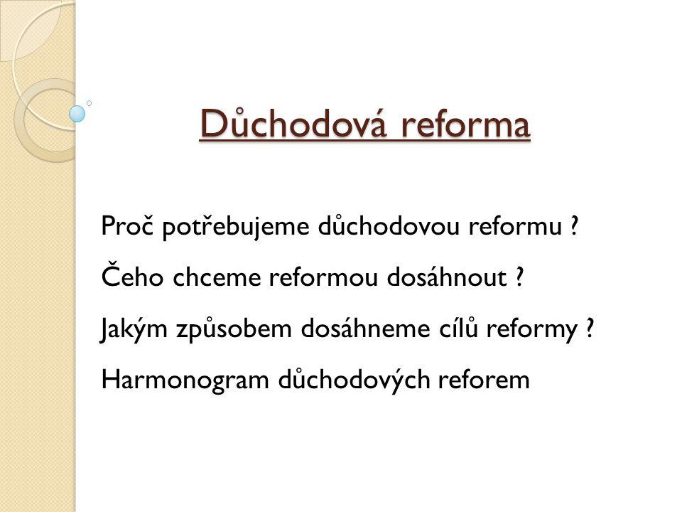 Jakým způsobem dosáhneme cílů reformy (1) BUDOU POKRAČOVAT PARAMETRICKÉ ZMĚNY u I.
