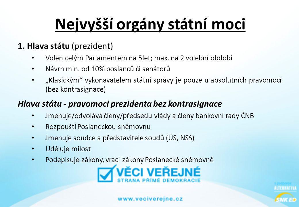 Nejvyšší orgány státní moci 1. Hlava státu (prezident) • Volen celým Parlamentem na 5let; max. na 2 volební období • Návrh min. od 10% poslanců či sen
