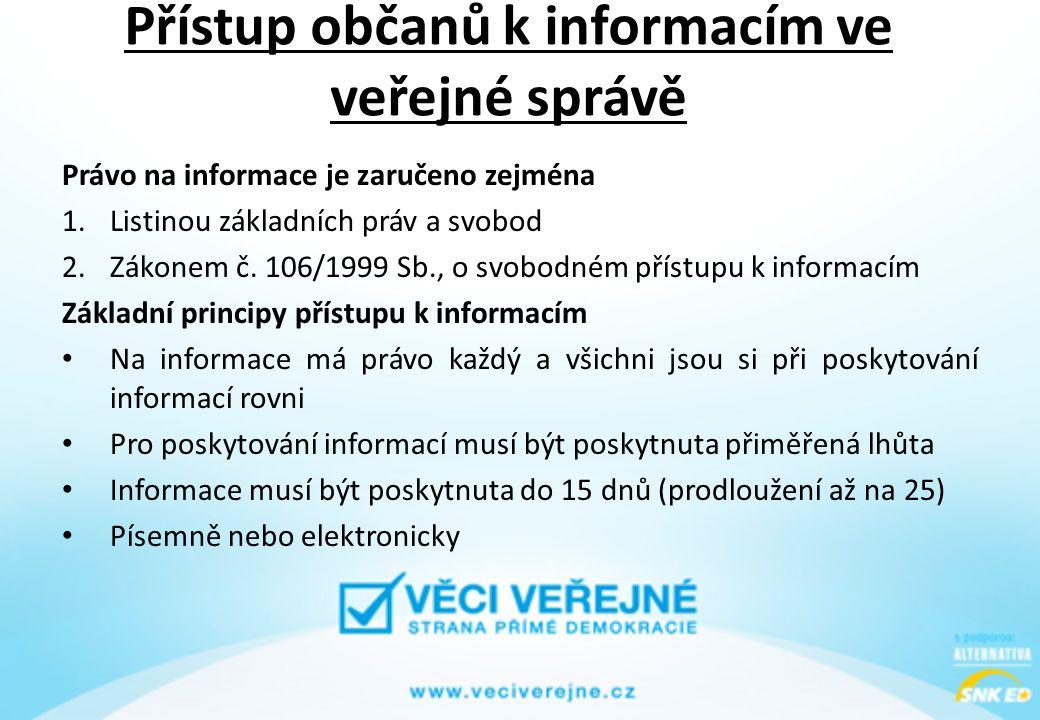 Přístup občanů k informacím ve veřejné správě Právo na informace je zaručeno zejména 1.Listinou základních práv a svobod 2.Zákonem č. 106/1999 Sb., o