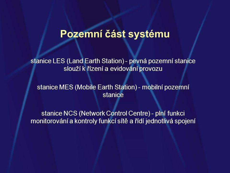Pozemní část systému stanice LES (Land Earth Station) - pevná pozemní stanice slouží k řízení a evidování provozu stanice MES (Mobile Earth Station) - mobilní pozemní stanice stanice NCS (Network Control Centre) - plní funkci monitorování a kontroly funkcí sítě a řídí jednotlivá spojení