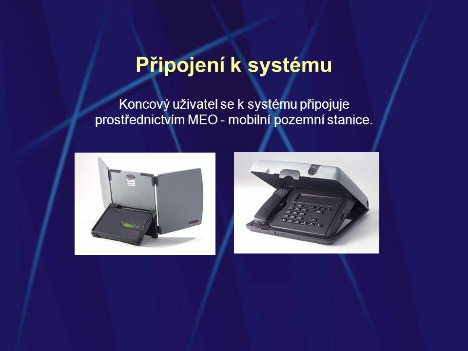 Připojení k systému Koncový uživatel se k systému připojuje prostřednictvím MEO - mobilní pozemní stanice.