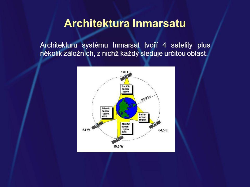 Architektura Inmarsatu Architekturu systému Inmarsat tvoří 4 satelity plus několik záložních, z nichž každý sleduje určitou oblast.