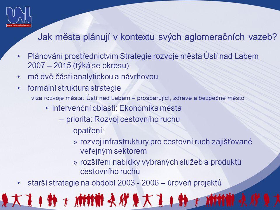 Jak města plánují v kontextu svých aglomeračních vazeb? •Plánování prostřednictvím Strategie rozvoje města Ústí nad Labem 2007 – 2015 (týká se okresu)