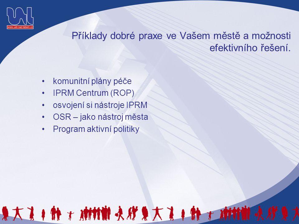 Příklady dobré praxe ve Vašem městě a možnosti efektivního řešení. •komunitní plány péče •IPRM Centrum (ROP) •osvojení si nástroje IPRM •OSR – jako ná