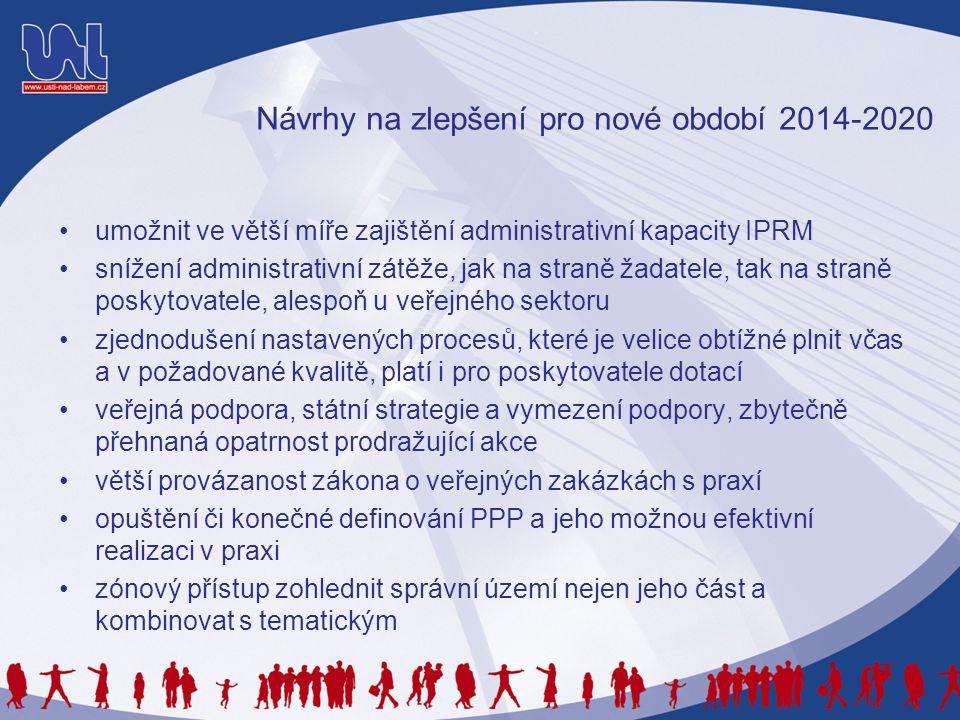 Návrhy na zlepšení pro nové období 2014-2020 •umožnit ve větší míře zajištění administrativní kapacity IPRM •snížení administrativní zátěže, jak na st