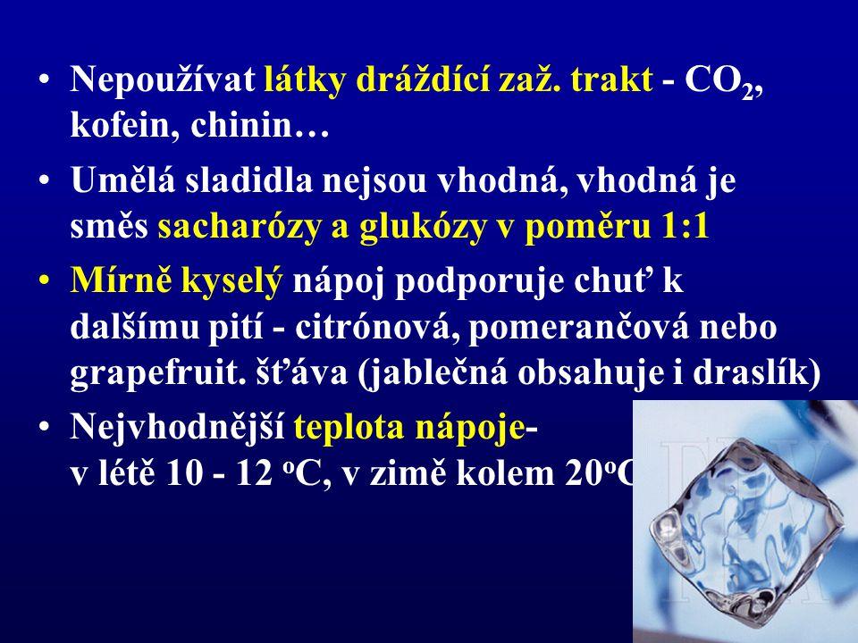 •Nepoužívat látky dráždící zaž. trakt - CO 2, kofein, chinin… •Umělá sladidla nejsou vhodná, vhodná je směs sacharózy a glukózy v poměru 1:1 •Mírně ky