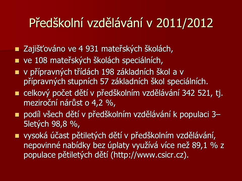 Předškolní vzdělávání v 2011/2012  Zajišťováno ve 4 931 mateřských školách,  ve 108 mateřských školách speciálních,  v přípravných třídách 198 základních škol a v přípravných stupních 57 základních škol speciálních.