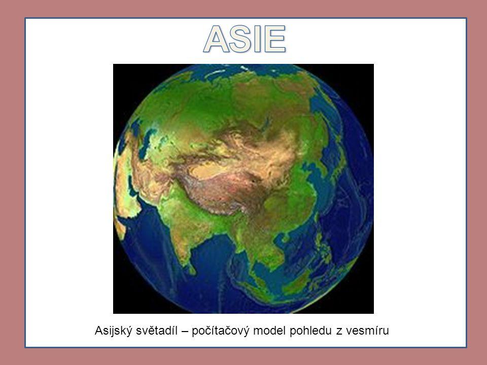 Asijský světadíl – počítačový model pohledu z vesmíru