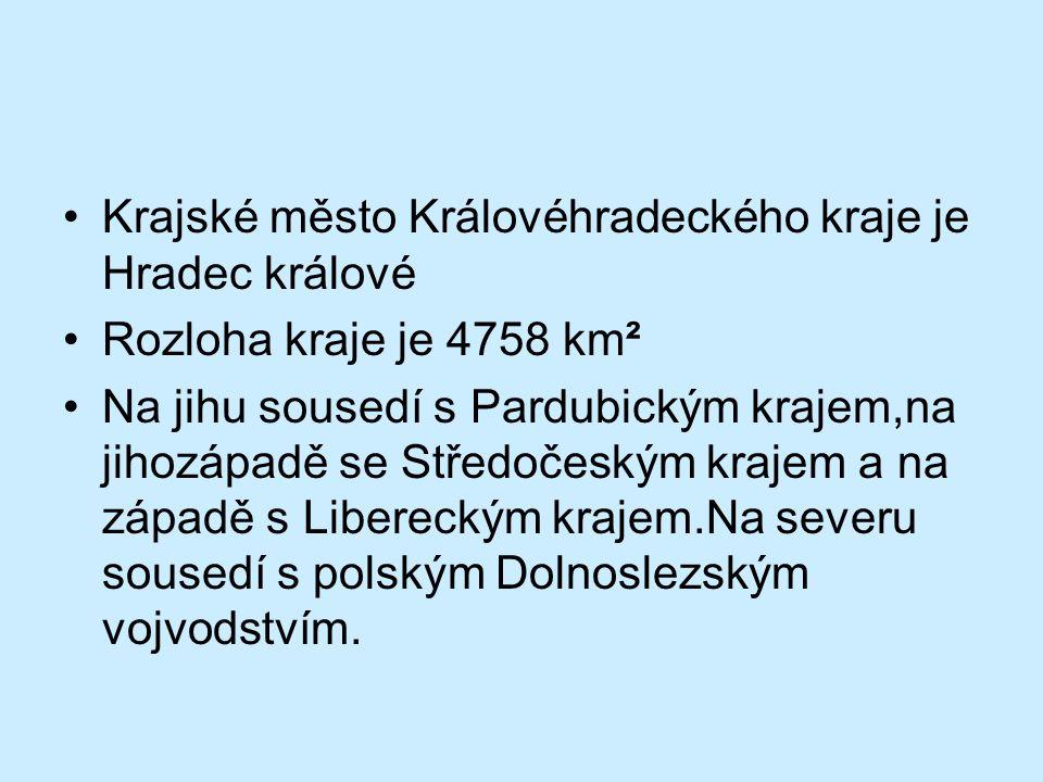 •Krajské město Královéhradeckého kraje je Hradec králové •Rozloha kraje je 4758 km² •Na jihu sousedí s Pardubickým krajem,na jihozápadě se Středočeský