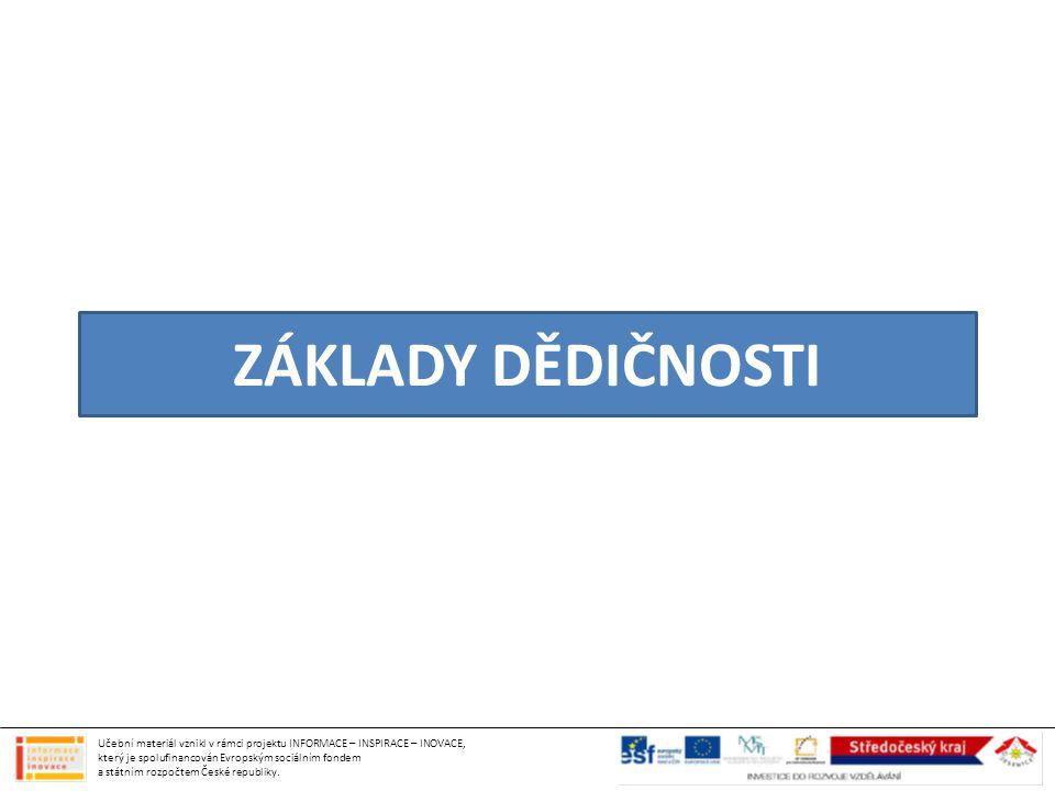 ZÁKLADY DĚDIČNOSTI Učební materiál vznikl v rámci projektu INFORMACE – INSPIRACE – INOVACE, který je spolufinancován Evropským sociálním fondem a stát