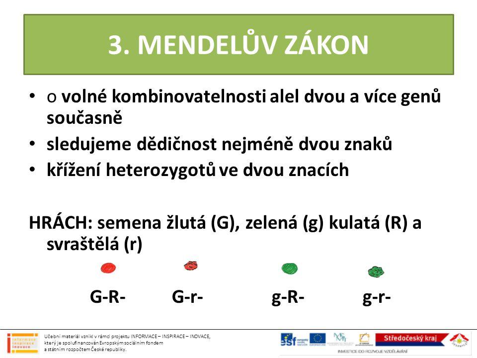 3. MENDELŮV ZÁKON • o volné kombinovatelnosti alel dvou a více genů současně • sledujeme dědičnost nejméně dvou znaků • křížení heterozygotů ve dvou z
