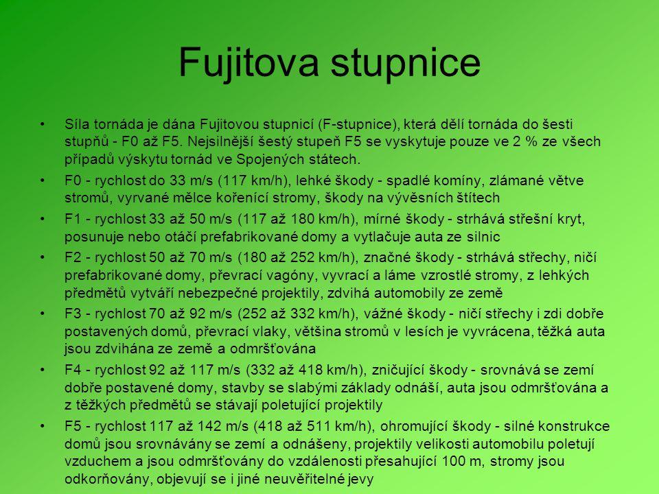 Fujitova stupnice •Síla tornáda je dána Fujitovou stupnicí (F-stupnice), která dělí tornáda do šesti stupňů - F0 až F5.