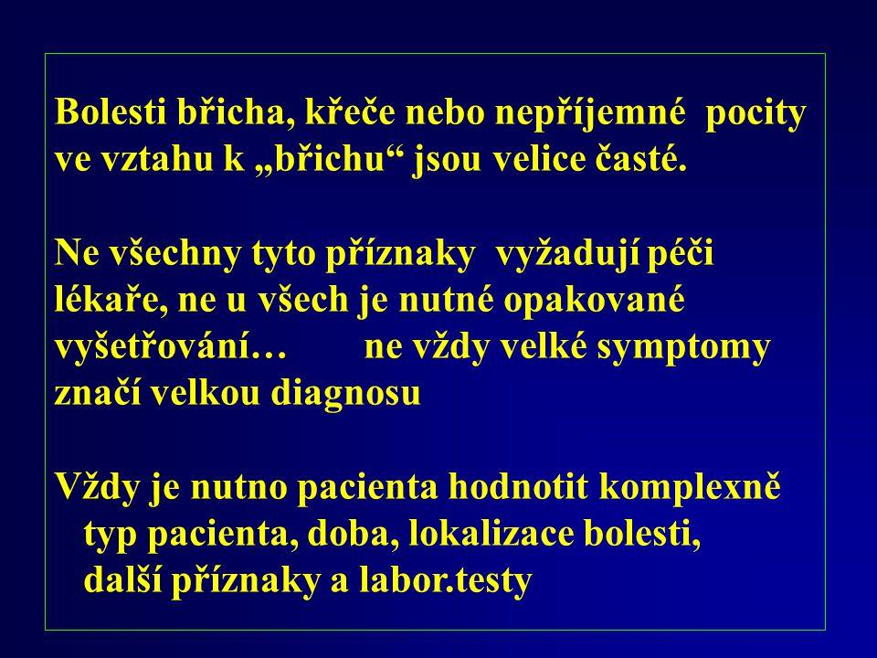 Anamnestické dělení bolesti břicha: - dle rychlosti vývoje:..