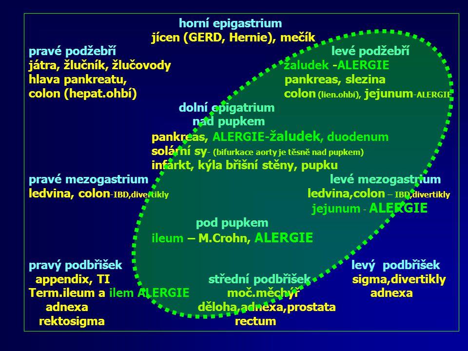 horní epigastrium jícen (GERD, Hernie), mečík pravé podžebří levé podžebří játra, žlučník, žlučovody žaludek -ALERGIE hlava pankreatu, pankreas, slezina colon (hepat.ohbí) colon (lien.ohbí), jejunum -ALERGIE dolní epigatrium nad pupkem pankreas, ALERGIE- žaludek, duodenum solární sy - (bifurkace aorty je těsně nad pupkem) infarkt, kýla břišní stěny, pupku pravé mezogastrium levé mezogastrium ledvina, colon -IBD,divertikly ledvina,colon – IBD,divertikly jejunum - ALERGIE pod pupkem ileum – M.Crohn, ALERGIE pravý podbřišek levý podbřišek appendix, TI střední podbřišek sigma,divertikly Rektosigma moč.měchýř adnexa adnexa děloha,adnexa,prostata rectum Bolest v pravém podbřišku
