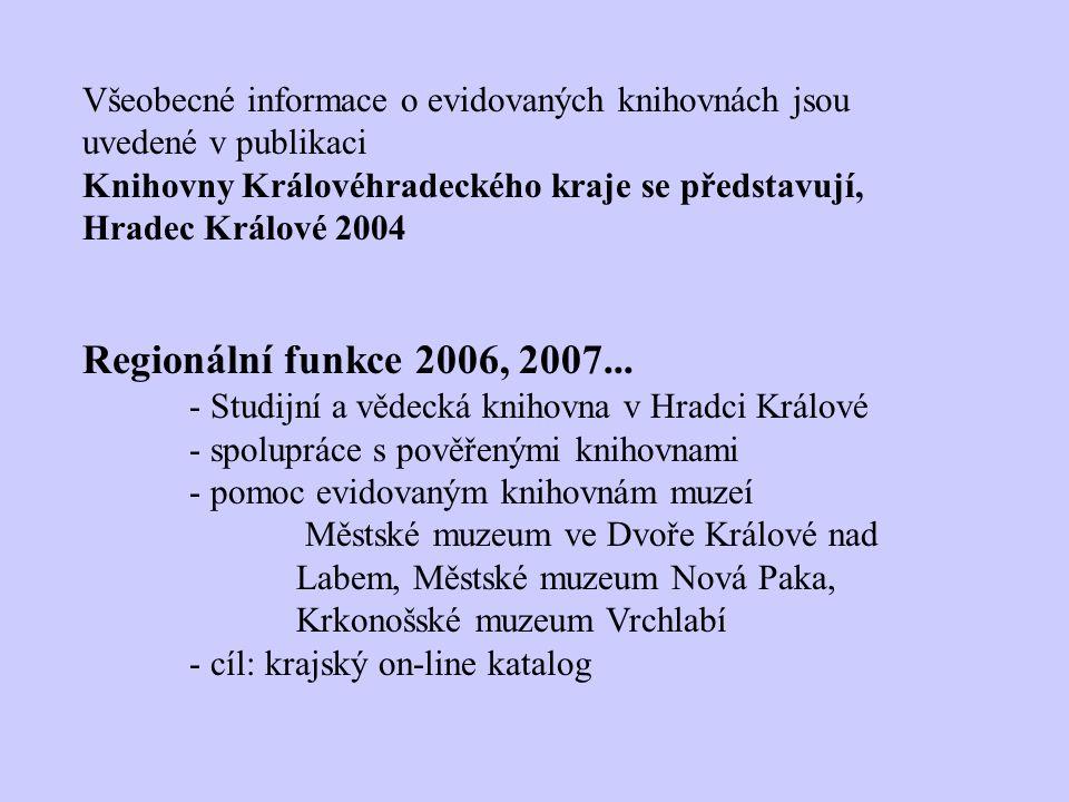 Všeobecné informace o evidovaných knihovnách jsou uvedené v publikaci Knihovny Královéhradeckého kraje se představují, Hradec Králové 2004 Regionální funkce 2006, 2007...