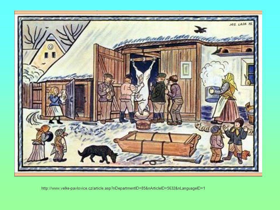 Rozčleňte text do odstavců: Kolorovaná kresba Josefa Lady z roku 1935 představuje tradiční venkovskou zabijačku.