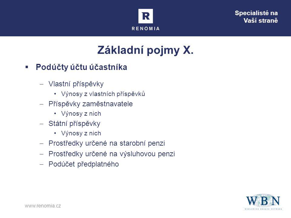 Specialisté na Vaší straně www.renomia.cz Základní pojmy X.  Podúčty účtu účastníka  Vlastní příspěvky •Výnosy z vlastních příspěvků  Příspěvky zam