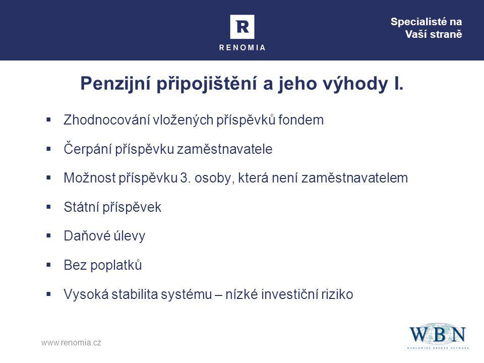 Specialisté na Vaší straně www.renomia.cz  Zhodnocování vložených příspěvků fondem  Čerpání příspěvku zaměstnavatele  Možnost příspěvku 3. osoby, k