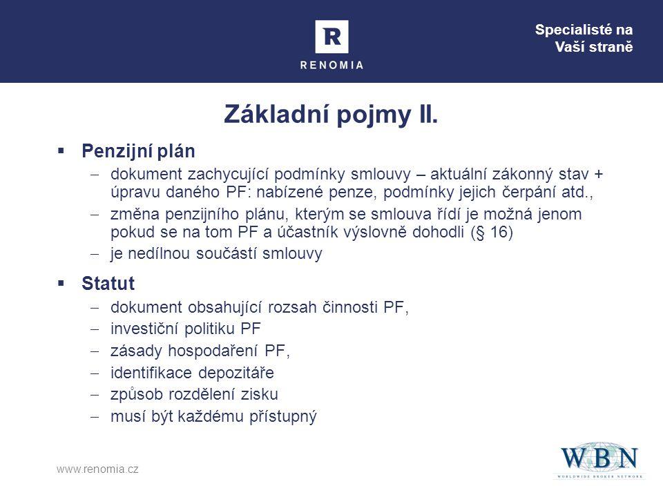 Specialisté na Vaší straně www.renomia.cz Základní pojmy II.