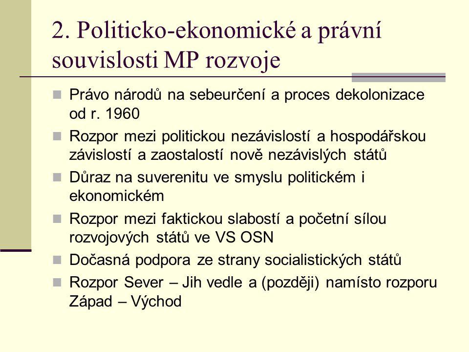 2. Politicko-ekonomické a právní souvislosti MP rozvoje  Právo národů na sebeurčení a proces dekolonizace od r. 1960  Rozpor mezi politickou nezávis