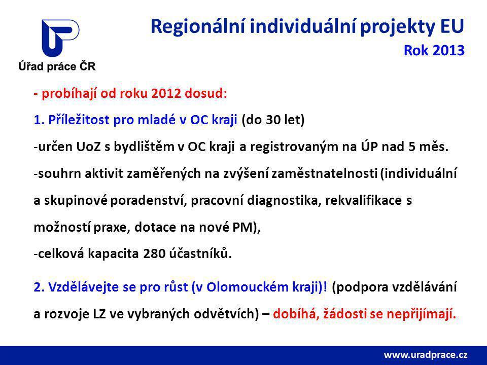 Regionální individuální projekty EU Rok 2013 - probíhají od roku 2012 dosud: 1.