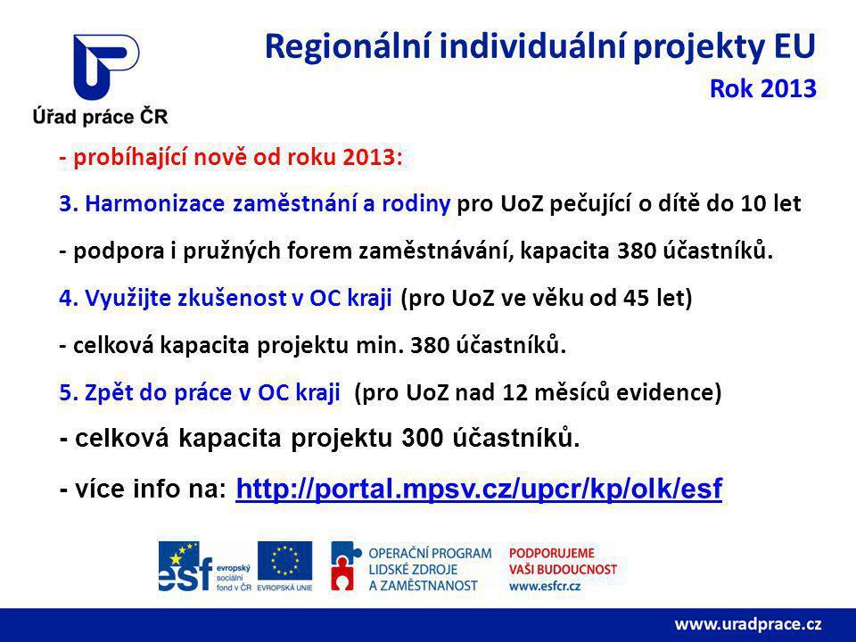 Regionální individuální projekty EU Rok 2013 - probíhající nově od roku 2013: 3.