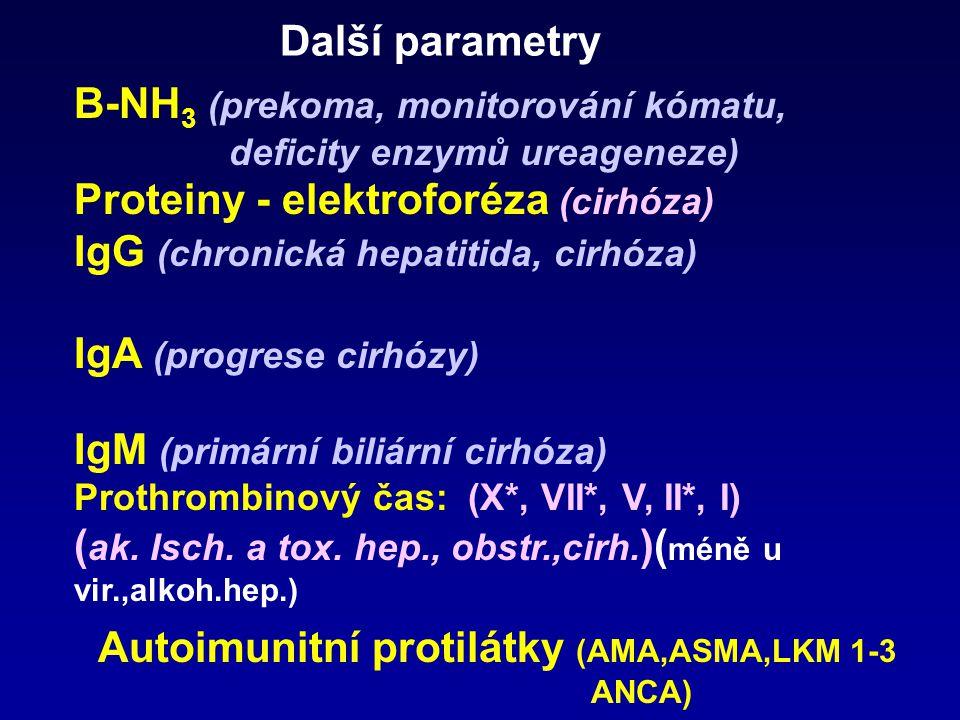 Diagnostické enzymy ALT ------------ zvýšená permeabilita AST------------- nekróza GMT ----------- cholestáza, indukce (steatóza) alkoholem, léky ALP-